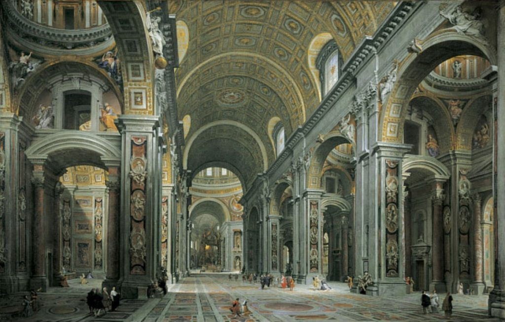 The Interior Of St. Peter's Basilica In Vatican City